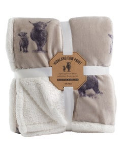 Mole Valley Super Soft Sherpa Throw - Cow