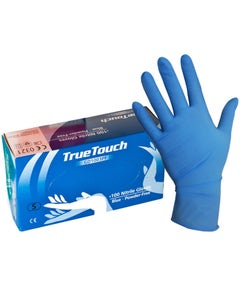 True Touch Powder Free Disposable Nitrile Gloves - Blue