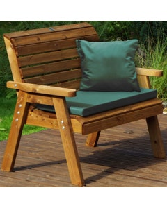 Charles Taylor 2 Seater Bench with Green Cushions