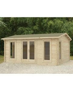 Forest Garden Rushock Double Glazed Log Cabin 5m x 4m 24kg Felt Roof with No Underlay - Unassembled