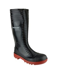 Dunlop Adults Acifort Ribbed Full Safety Wellington Boots - Black