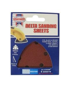 Faithfull Hook & Loop Delta TR2 Sanding Sheets 93mm - 5 Pack