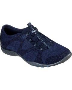 Skechers Ladies Breathe-Easy Opportuknity Slip On Sports Shoes - Navy