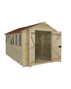 Forest Garden Tongue & Groove Pressure Treated Double Door Apex Shed 12ft x 8ft - Unassembled