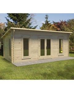 Forest Garden Arley Double Glazed Log Cabin 6m x 3m 24kg Felt Roof with Underlay - Unassembled