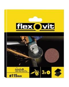 Flexovit Sanding Discs 115mm Medium 50g – Pack of 3