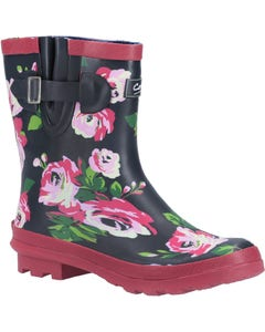 Cotswold Ladies Paxford Elasticated Mid Calf Wellington Boots - Black/Flower