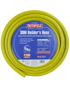Faithfull Yellow Heavy Duty Reinforced Builders Hose – 30m