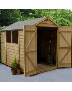 Forest Garden Overlap Pressure Treated Double Door Apex Shed 8ft x 6ft - Unassembled