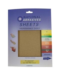 National Abrasives DIY Cabinet Sandpaper - Pack Of 5 Assorted