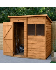 Forest Garden Overlap Dip Treated Pent Shed 6ft x 4ft - Unassembled