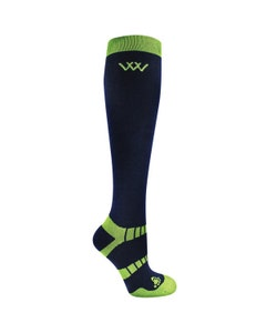 Woof Wear Winter Riding Socks Navy/Lime - Small