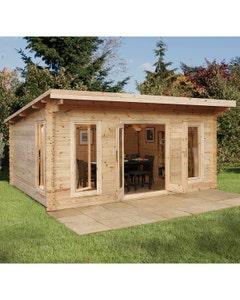 Forest Garden Mendip D/G Log Cabin 5m x 4m 24kg F/R N/U - Unassembled