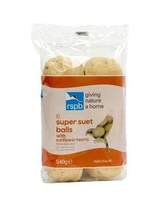 RSPB High Energy Super Suet Fat Balls With Sunflower Hearts Wild Bird Food – Pack of 6