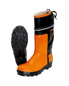STIHL Rubber Chainsaw Boots - Black/Orange UK 10.5