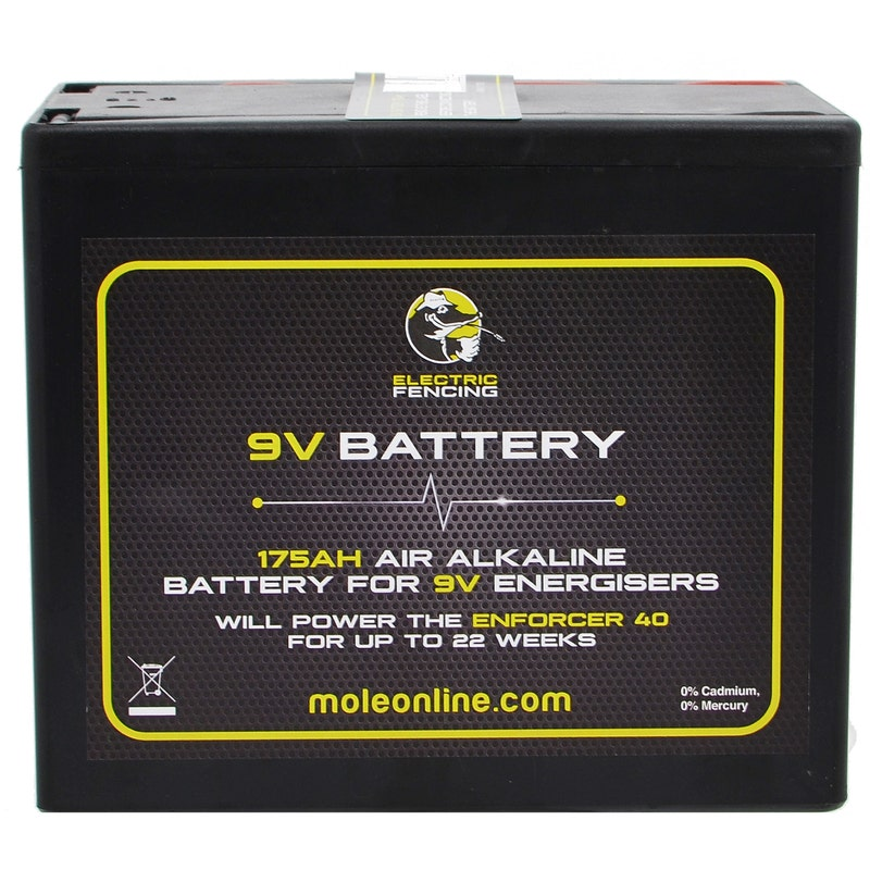 An image of Mole Electric Fencing Air Alkaline Battery - 9V/120Ah