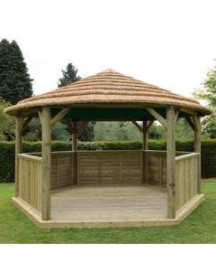 Forest Garden Hexagonal Garden Gazebo With Country Thatch Roof (Inc. Terracotta Roof Lining) 4.7m - Assembled
