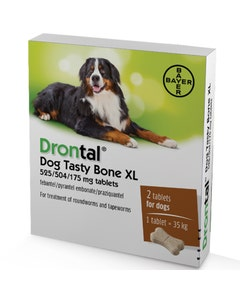 Drontal Dog Tasty Bone XL Worming Tablets - Pack of 2