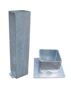 Galvanised Steel Square Ground Socket With Cap - 114mm