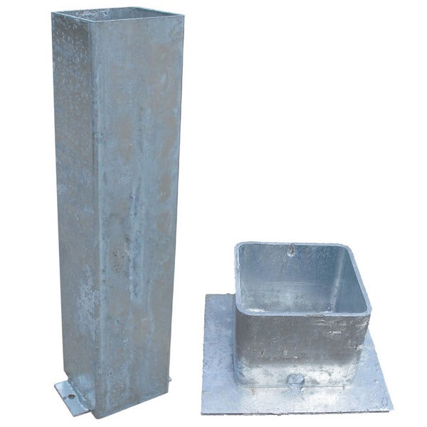 An image of Galvanised Steel Square Ground Socket With Cap - 114mm