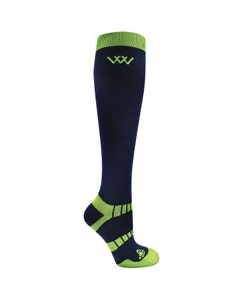 Woof Wear Winter Riding Socks Navy/Lime - Large