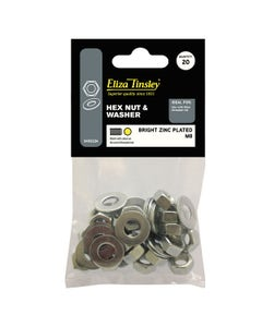 Eliza Tinsley BZP Nut and Washer Hex M8 - 20 Pack