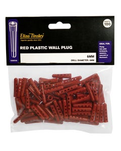 Eliza Tinsley Red Wall Plugs 6mm - 100 Pack