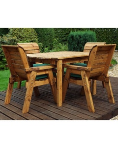 Charles Taylor Rectangular Table and Chair Set - Green 4 Seater