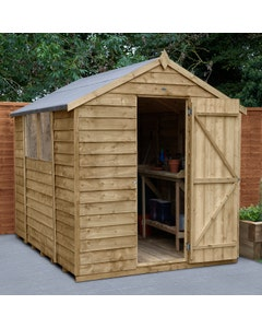 Forest Garden Overlap Pressure Treated Apex Shed 8ft x 6ft - Unassembled