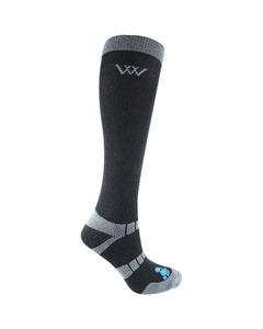 Woof Wear Waffle Knit Bamboo Long Riding Socks Black - Large