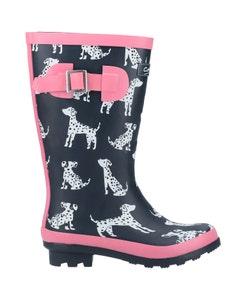 Cotswold Girls Spot Dog Print Wellington Boots