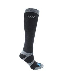 Woof Wear Waffle Knit Bamboo Long Riding Socks Black - Small