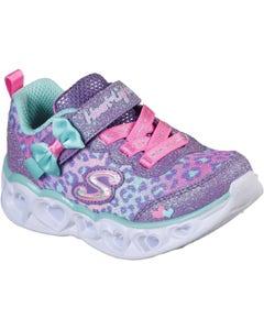 Skechers Children's Heart Lights Touch Fastening Trainers - Lavender/Aqua