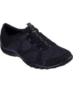 Skechers Ladies Breathe-Easy Opportuknity Slip On Sports Shoes - Black
