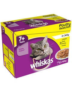 Whiskas Poultry Selection In Jelly Pouches 7+ Years - 12 x 100g