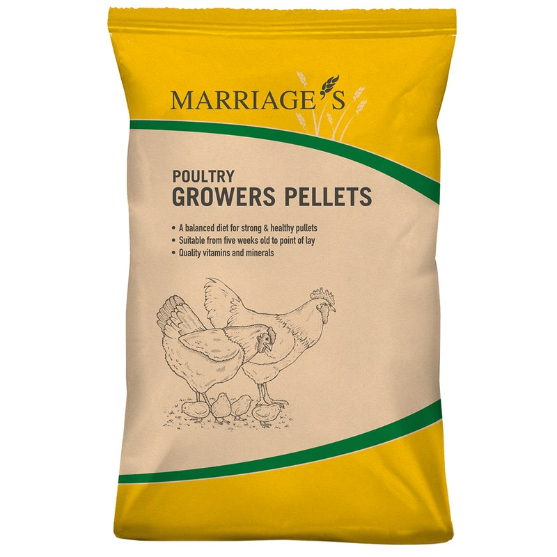 An image of Marriages Poultry Growers Pellets - 20kg