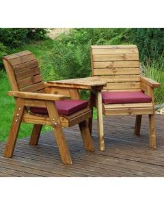 Charles Taylor Companion Angled Seat Set with Burgundy Cushions