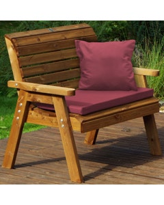 Charles Taylor 2 Seater Bench with Burgundy Cushions
