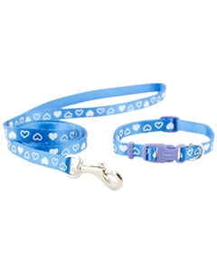 Ancol Puppy Collar & Lead Set - Blue/White Hearts
