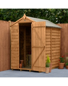 Forest Garden Overlap D/T Apex Shed 6ft x 4ft (No Window) - Unassembled