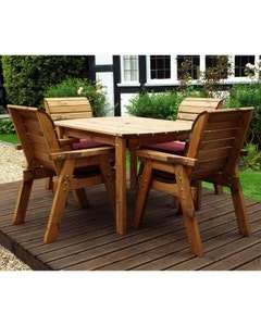 Charles Taylor Rectangular Table and Chair Set - Burgundy 4 Seater