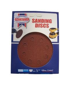 Faithfull Hook & Loop Medium Fine Sanding Discs 125mm - 5 Pack