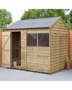 Forest Garden Overlap Pressure Treated Reverse Apex Shed 8ft x 6ft - Unassembled