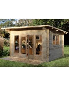Forest Garden Melbury Single Glazed Log Cabin 4m x 3m 24kg Felt Roof with Underlay - Unassembled