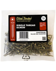 Eliza Tinsley Single Thread Wood Screw 4mm x 50mm - Pack of 200