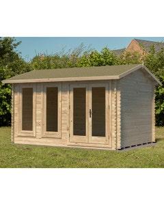 Forest Garden Chiltern Double Glazed Log Cabin 4m x 3m Felt Shingle Roof with Underlay - Unassembled