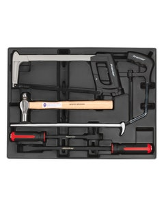 Sealey Pry Bar Hammer & Hacksaw Set with Tool Tray - 6 Piece