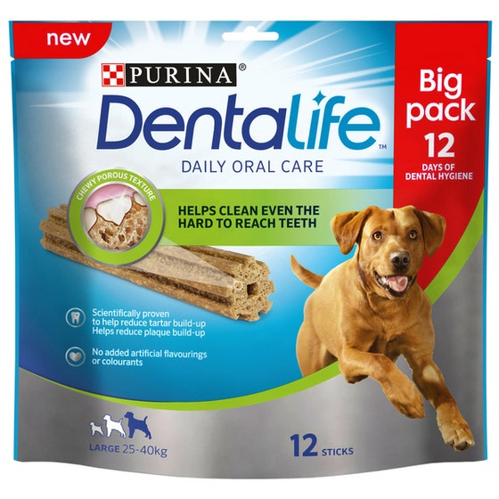 An image of Purina Dentalife Daily Oral Care Dental Chews Large Dog - 426g