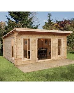 Forest Garden Mendip D/G Log Cabin 5m x 4m 24kg F/R W/U - Unassembled