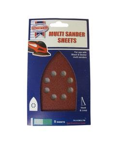 Faithfull Assorted Multi Sander Hook & Loop Sheets Red - 5 Pack
